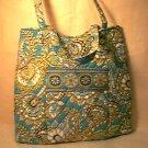 Vera Bradley Curvy Tote Peacock reader purse knitting shopper lingerie bag  HTF NWT Retired