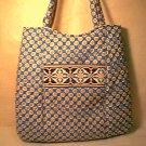 Vera Bradley Curvy Tote Riviera Blue  shopper knitting laundry bag  purse   NWT Retired