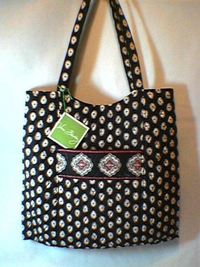 Vera Bradley Curvy Tote Classic Black  - purse knitting laundry magazine bag  - NWT Retired