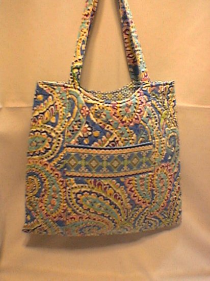71e5ccc65b08 Vera Bradley Curvy Tote Capri Blue purse knitting lingerie shopping bag NWT  Retired
