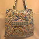 Vera Bradley Curvy Tote Capri Blue   purse knitting lingerie shopping bag  NWT Retired