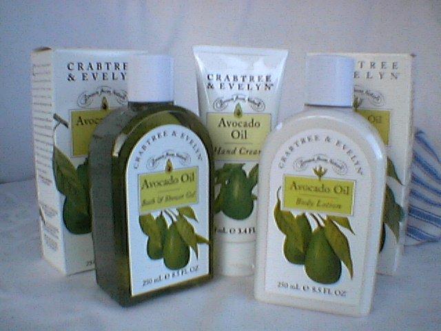 Crabtree Evelyn Avocado Oil Trio - Bath Gel  Lotion  Hand Cream Tote  RARE Boxed versions GIFT