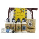 L occitane Shea Travel Treasures 8pc • Lotion Shower Cream Shampoo Soaps Balm Hand Cream + Case
