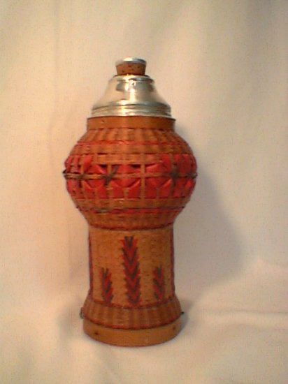 Wicker covered thermos Vintage Handwoven Mint basket eastern europe?
