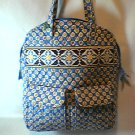 Vera Bradley Tall Zip Tote tablet laptop commuter pocket tote diaper bag Riviera Blue Retired NWT