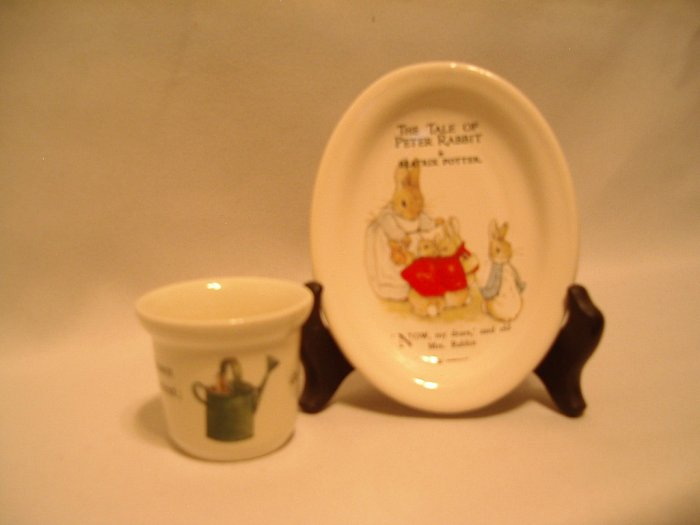 Peter Rabbit Trinket Plate / tray & beaker / egg cup   Beatrix Potter  Wedgewood F. Warne & Co