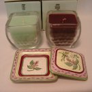 Partylite Fusions Topper  Tray Set + Mulberry, Honeydew Glass Candles  - MIB mint poured candles