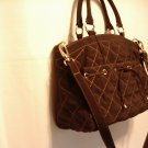 Vera Bradley Tie Front Satchel  crossbody purse handbag Microfiber Espresso  NWT Retired
