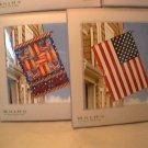 """TWO garden Flags American Americana  28"""" x 40"""" NIP July 4th Fourth  Folk-Art Traditional"""