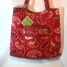 Vera Bradley Curvy Tote Mesa Red - shopper knitting bag  magazine purse   Retired NWT