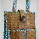 Vera Bradley Tiki Tote beach laptop shoulder bag Bali Blue  rattan cane wicker cruise - NWT Retired