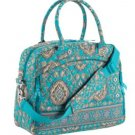 Vera Bradley Metropolitan Totally Turq weekend overnight laptop carry-on commuter trolley sleeve •