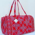 Vera Bradley Large Duffel Frankly Scarlet • weekend overnight carryon NWT Retired