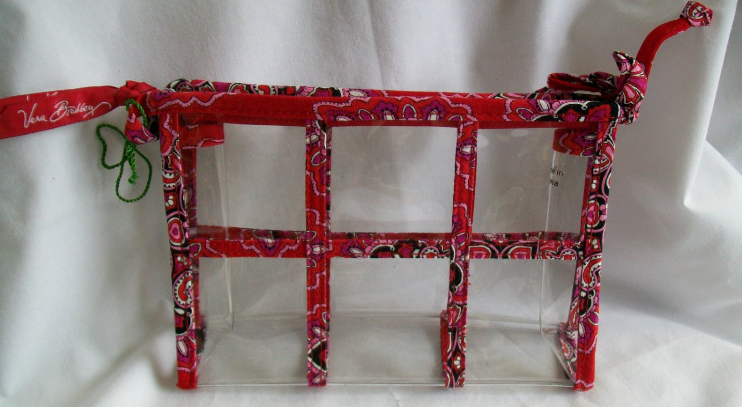 Vera Bradley Transparent Travel Pouch cosmetic makeup case Frankly Scarlet   NWT Retired FS