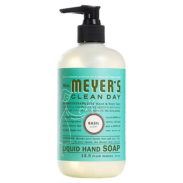 Mrs Meyers Clean Day Liquid Hand Soap Basil TWO 12.5 oz pump bottles FS