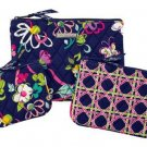 Vera Bradley Cosmetic Trio Ribbons travel cosmetic set tech case NWT