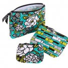 Vera Bradley Cosmetic Trio travel makeup case set  Island Blooms NWT PDA, tech