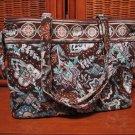 Vera Bradley Tie Tote shopper shoulder bag  Java Blue  Retired