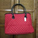 Crabtree Evelyn Red quilted Tote shopper overnight NWT sturdy base