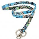 Vera Bradley Lanyard ID badge keyring holder Bali Blue NWT FS