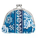 Vera Bradley Double Kiss Coin purse Blue Lagoon • kisslock coin purse small clutch NWT Retired