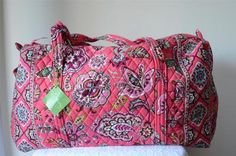 Vera Bradley Large Duffel Call Me Coral Retired NWT  gym bag duffle overnighter weekender