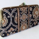 Vera Bradley Clutch Wallet Caffe Latte double kisslock  •  Retired NWOT
