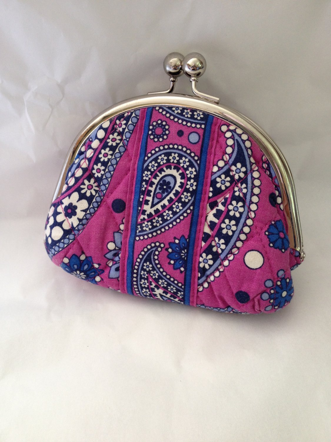 Vera Bradley Double Kiss coin  Boysenberry  Retired  small cosmetic makeup pda pouch purse