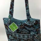 Vera Bradley Curvy Tote Java Blue  purse knitting lingerie shopper tote   Retired  VHTF NWT