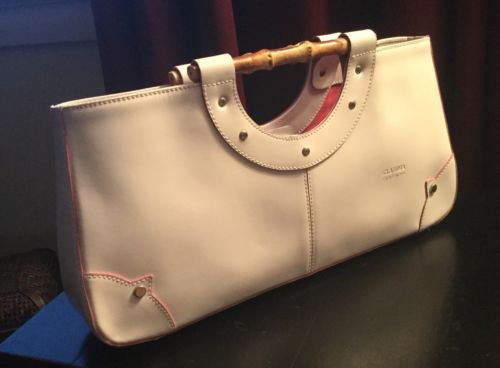 Claudia Firenze leather handbag pocketbook with bamboo handle Italy