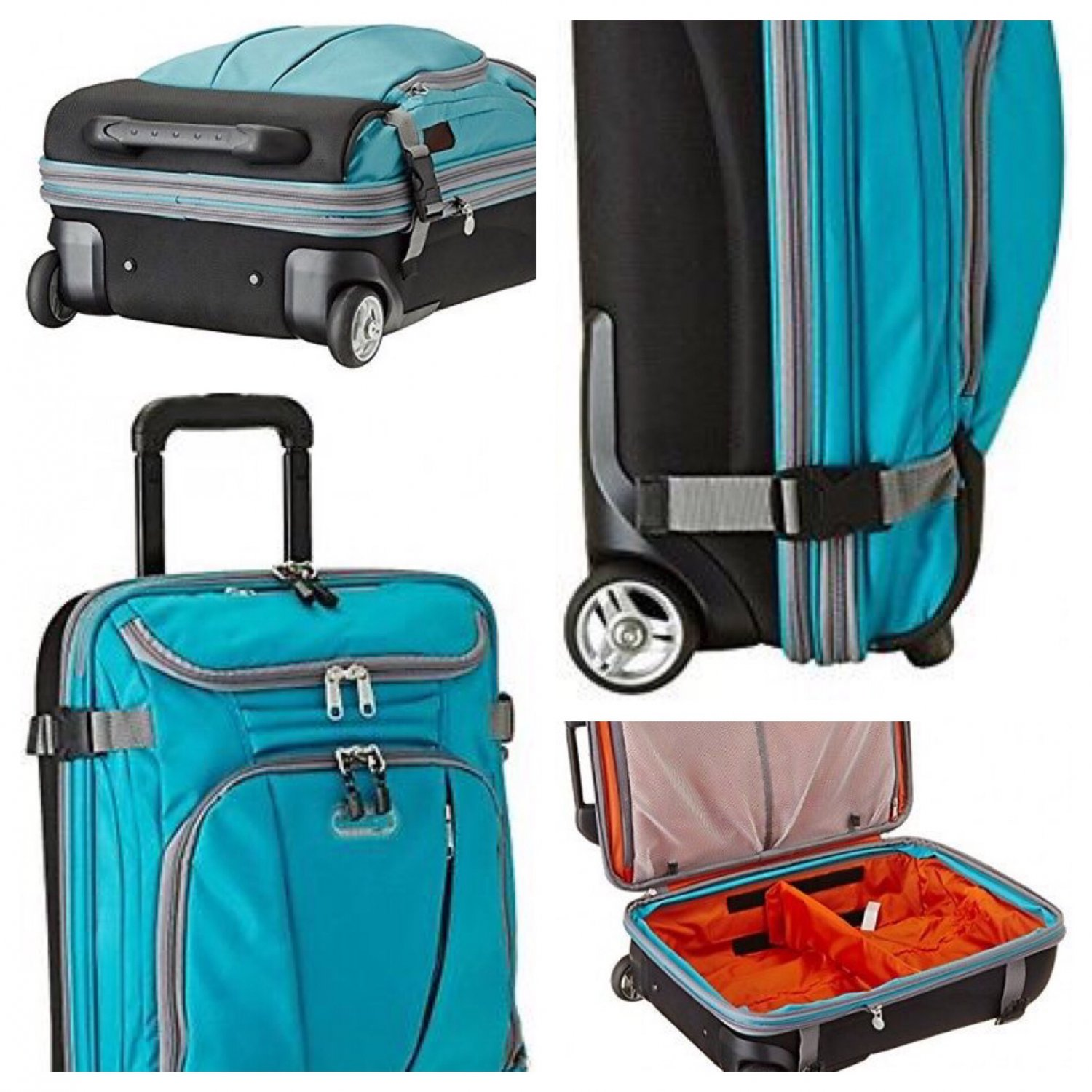 "eBags tls Mother Lode 21"" mini Wheeled Duffel Tropical Turquoise blue rolling luggage carryon"