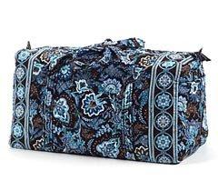 Vera Bradley Large Duffel  Java Blue overnight  carryon weekend Retired NWT satchel