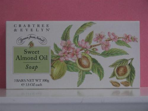 Sweet Almond Soap Crabtree & Evelyn FS set/3 individually boxed bars 3.5 oz ea �
