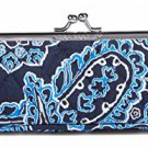Vera Bradley Kisslock Case Blue Bandana FS NWT Retired pencil makeup tools tech