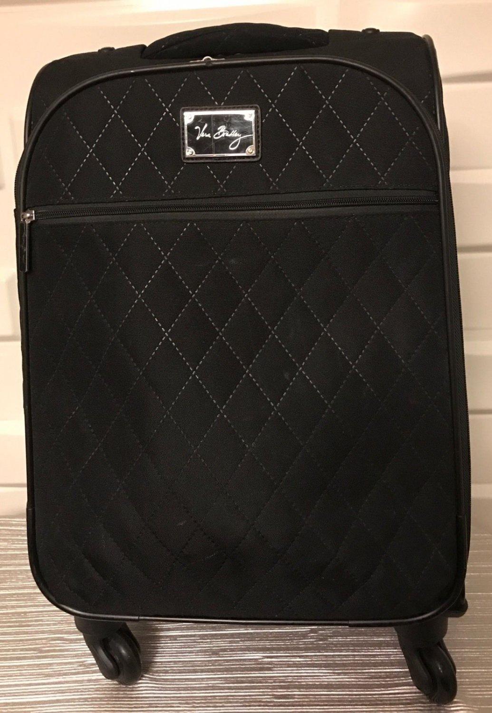 "Vera Bradley small 22"" Spinner Microfiber Black wheeled carry on luggage"