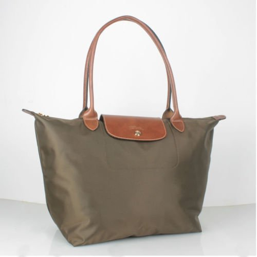 Longchamp Le Pliage L Tote Taupe brown nylon FS