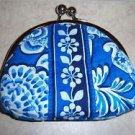 Vera Bradley Double Kiss Blue Lagoon • kisslock coin purse small clutch  Retired