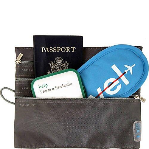 Flight 001 Seat Pak  Charcoal black  travel in-flight organizer zip clutch seatpack