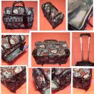 "Vera Bradley Rolling Tote 17"" Java Blue wheeled luggage carry on Retired"