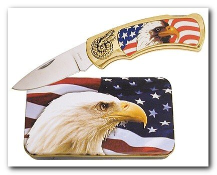 Eagle on Flag Knife in Metal Tin