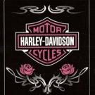 Harley Davidson Fleece Blanket-Pink Roses