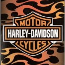 Harley Davidson Fleece Blanket-Orange Flames