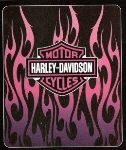 Harley Davidson Fleece Blanket -Pink Flames