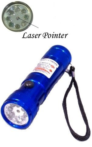 8 LED Blue Metal Flashlight - Red Dot Laser Pointer