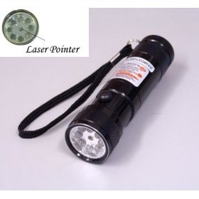 8 LED Black Metal Flashlight - Red Dot Laser Pointer