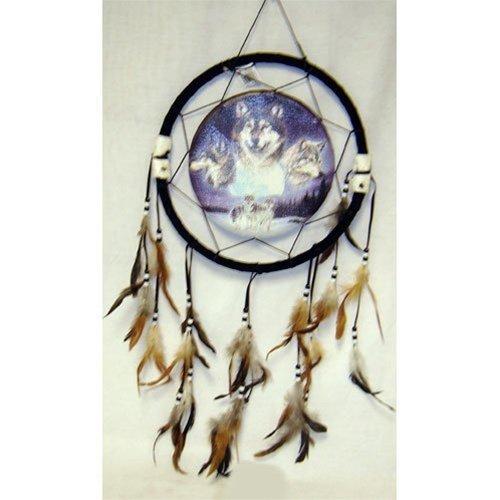 "13"" Wolf Dream Catcher w/ Feathers"