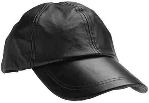 Black Leather Baseball Cap