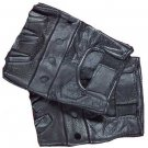 Fingerless Leather Biker Gloves - XL
