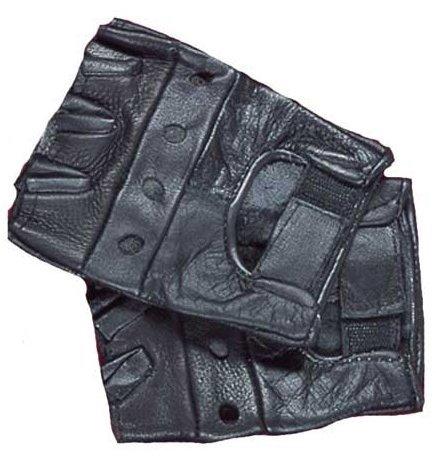 Fingerless Leather Biker Gloves - 2X