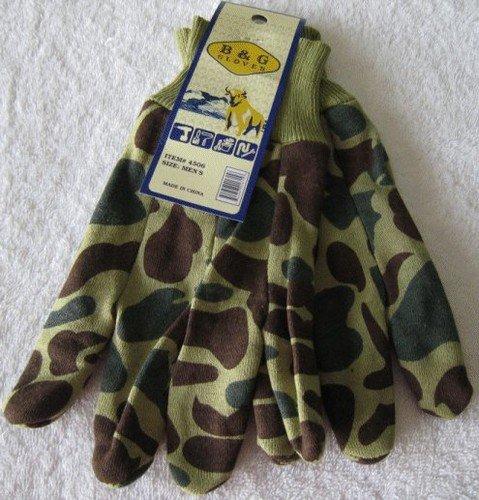 Green/Brown Camo Jersey Gloves